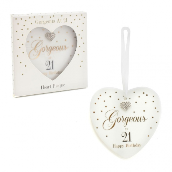 Mad Dots 21st Birthday Hanging Ceramic Heart Gorgeous at 21 Happy Birthday