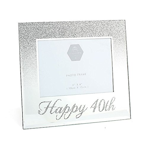 Happy 40th Silver Mirror & Glitter 4'' x 6'' Photo Frame - 40th Birthday Gift