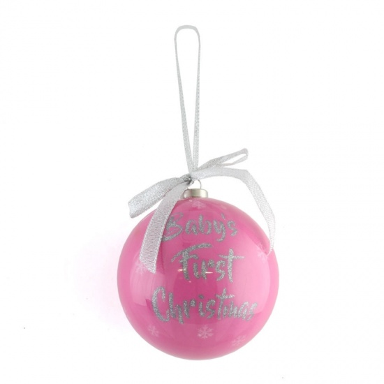 Pink Baby's First Christmas - 1st Christmas Tree Bauble