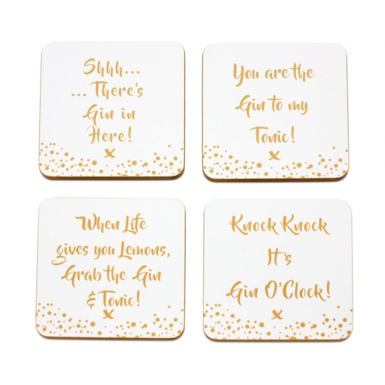 Gin slogan coasters. - Gift Set of 4 Coasters