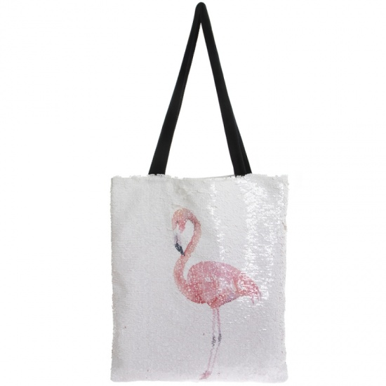 Flamingo Sequin Shopping Bag