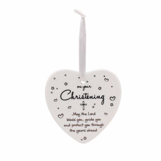 Christening Hanging Ceramic Heart - On Your Christening Day....May the Lord Bless You