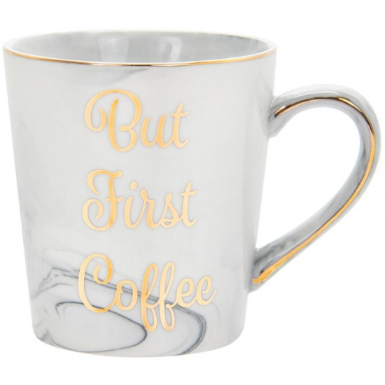But First Coffee Marble effect Fine China mug