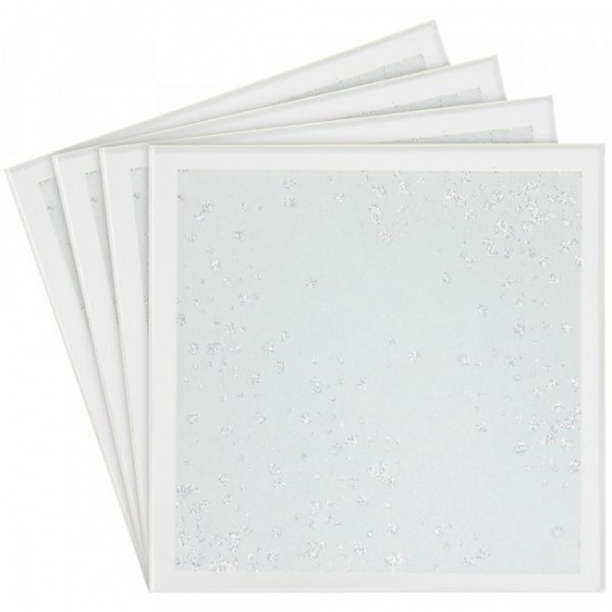 White and Silver Scatter Glitter Mirror Glass Coaster - Set of 4 Coasters