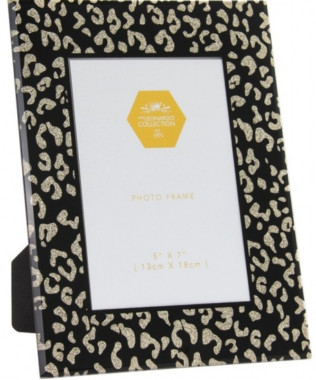 Wildside Black and Gold Animal Print Glitter Glass 5'' x 7'' Picture Photo Frame
