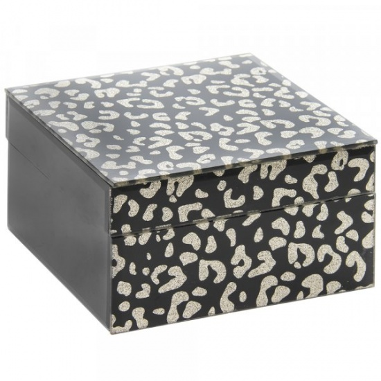 Wildside Animal Print Black and Gold Glitter Jewellery Box