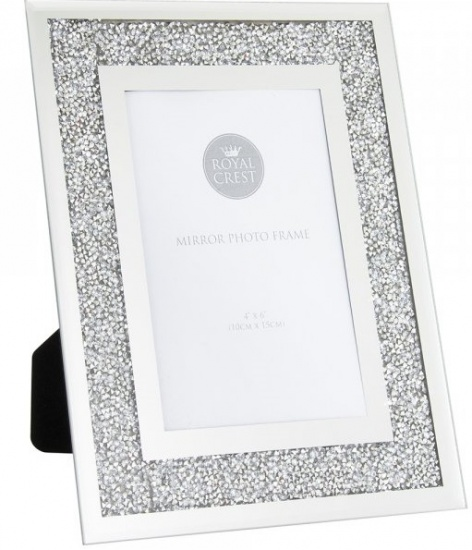 Mirror and Crystal 4'' x 6'' Picture Photo Frame - Crushed Crystal Frame