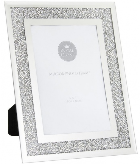 Mirror and Crystal 5'' x 7'' Picture Photo Frame - Crushed Crystal Frame