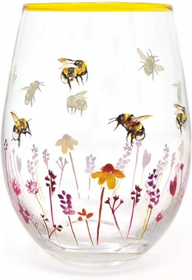 Busy Bees Floral Large Stemless Gin & Tonic Cocktail Tumbler Glass Gift Boxed