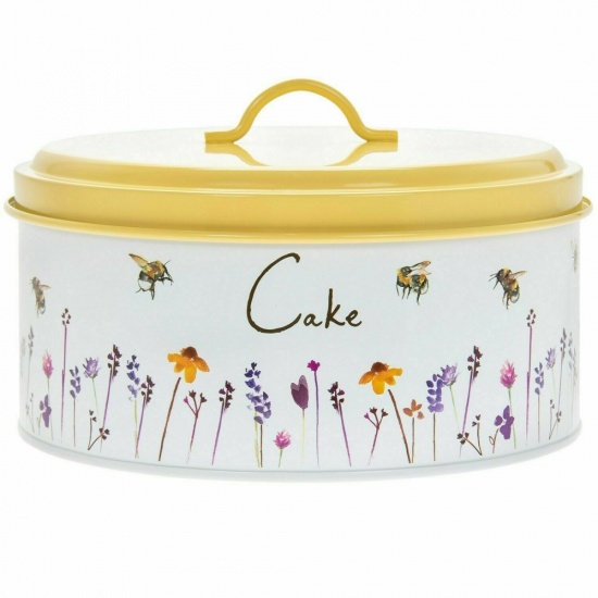 Busy Bees Round Enamel Metal Cake Tin Baking Storage Container