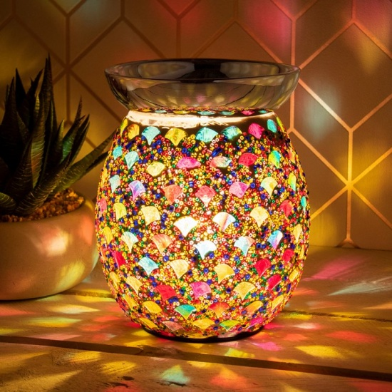 Desire Aroma Electric Wax Melt Burner Lamp Colourful Mosaic Finish Touch Control