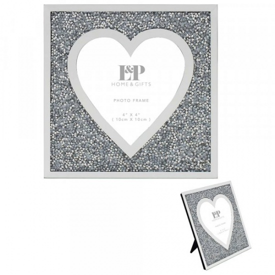 Mirror and Crystal 4'' x 4'' Picture Heart Photo