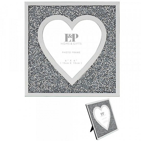 Mirror and Crystal 6'' x 6'' Picture Heart Photo Frame - Crushed Diamond Crystal