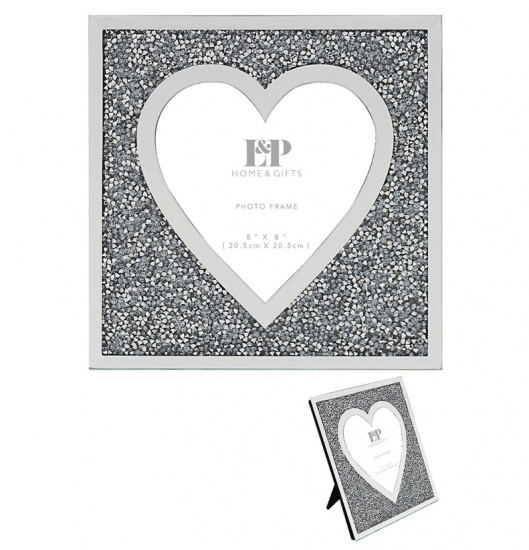 Mirror and Crystal 8'' x 8'' Picture Heart Photo Frame - Crushed Diamond Crystal