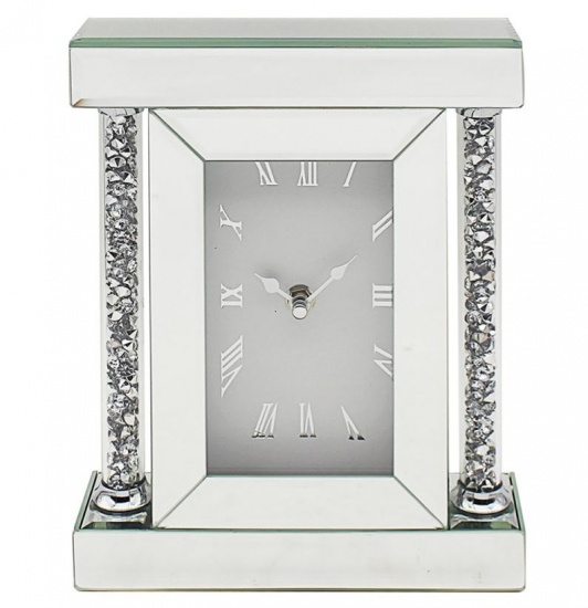 Crushed Diamond Crystal Sparkly Silver Mirrored Glass Square Mantel Clock