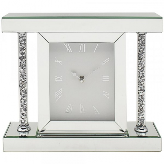 Crushed Diamond Crystal Sparkly Silver Mirrored Glass Square Mantel Clock Large