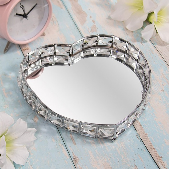 Heart Shape Mirror Diamante Jewel Tray Plate Jewelled Candle Plate Tray