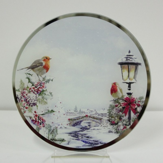 Christmas Robins Glass Candle Plate Large 20 cm