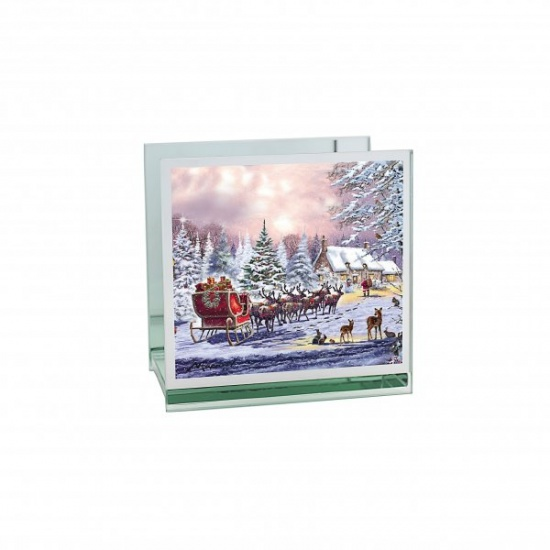 The Magic of Christmas Tealight Holder - Mirrored Glass Decorative Holder