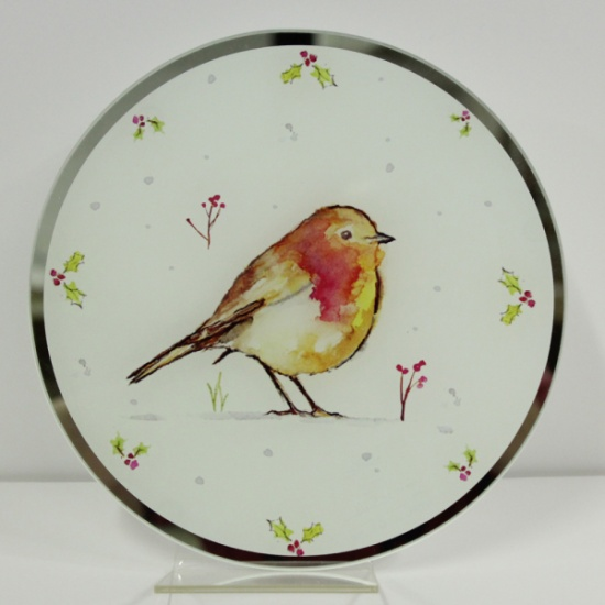 Winter Robins Glass Candle Plate 20 cm