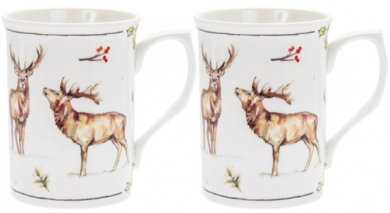 Winter Stags Set of 2 Fine China Mugs - Gift Boxed