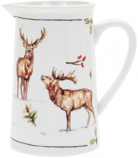 Winter Stags Fine China Milk Jug - Christmas Design