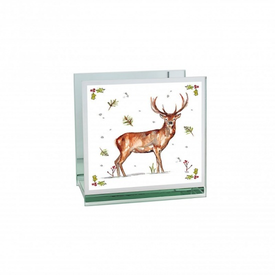 Winter Stags Tealight Holder - Mirrored Glass Decorative Holder
