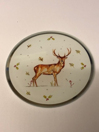 Winter Stags Glass Candle Plate 10 cm