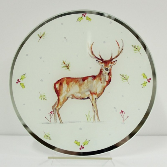 Winter Stags Glass Candle Plate 20 cm