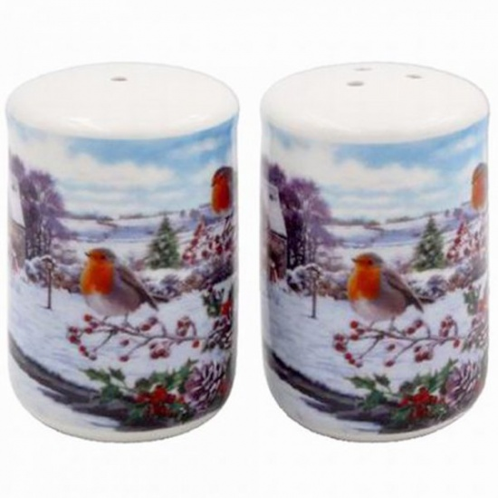 Christmas Robins Salt and Pepper Set - Gift Boxed