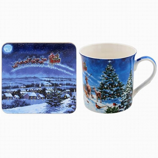 Magic of Christmas Mug and Coaster Set - Boxed Set fine bone china mug set