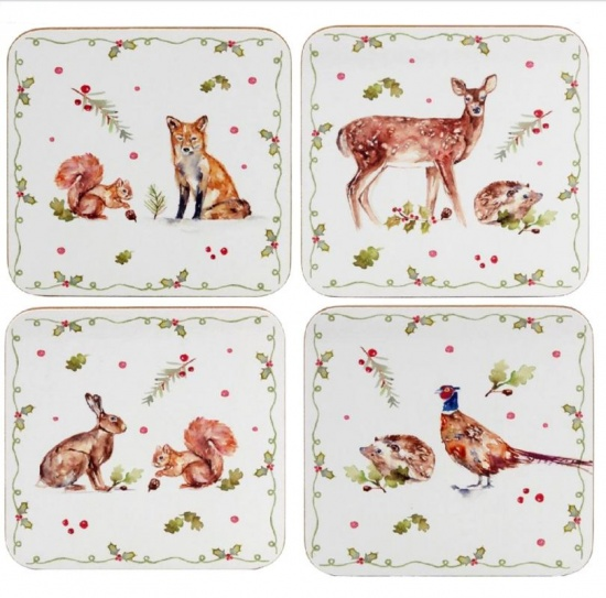 Winter Forest Festive Coasters - Set of 4