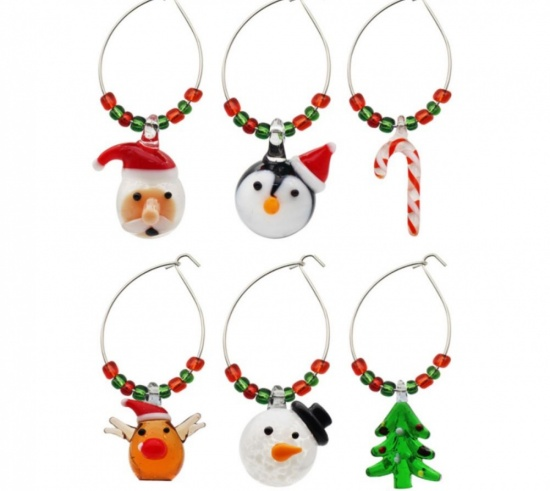 Set 6 Christmas Wine Glass Rings Santa Tree Penguin Rudolph Snowman Candy Cane