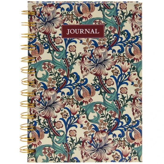 William Morris Golden Lily Spiral Hardback Journal Notebook Writing Book