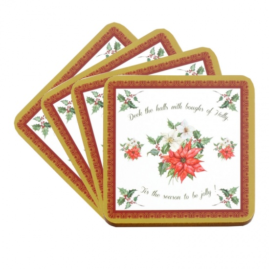 Christmas Deck the Halls Drinks Coasters - Set of 4 - Boxed