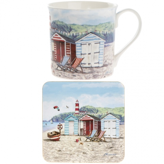 Sandy Bay Mug and Coaster Set - beach nautical set