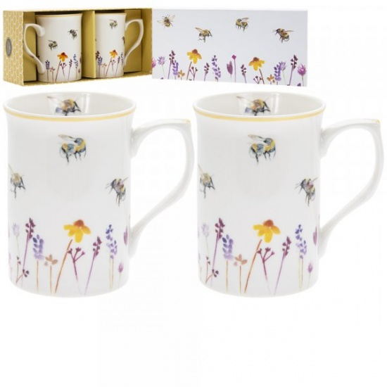 Busy Bees Set of 2 Fine China Mugs  - Gift Boxed