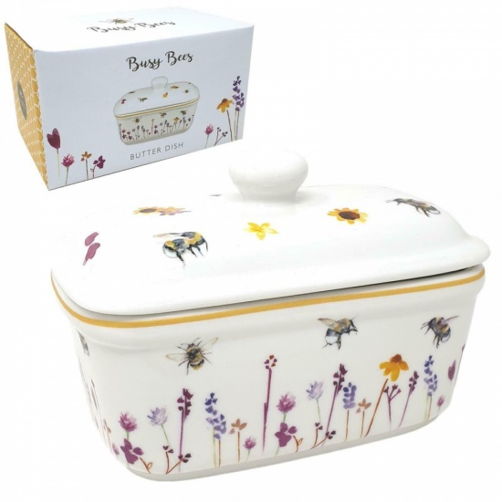 Busy Bees Butter Dish With Lid Water Colour flowers and Bumble Bee Ceramic Dish