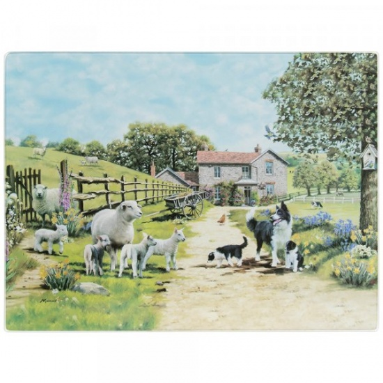 Border Collie and Sheep Countryside Glass Cutting Chopping Board Worktop Saver