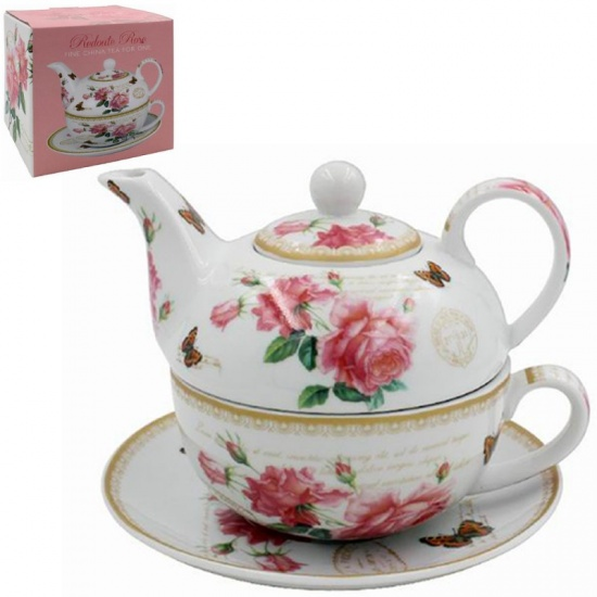 Redoute Rose Print Tea for One - Teapot, Cup and Saucer Set