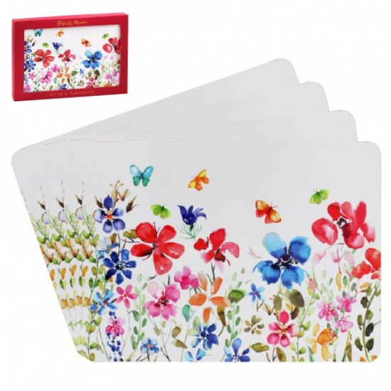 Butterfly Meadow Set Of 4 Placemats Dining Table flowers and butterflies