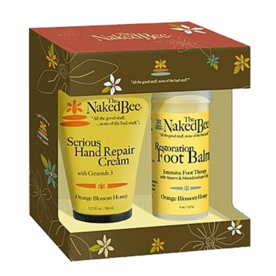 The Naked Bee Serious Restoration For Hands & Feet Gift Set, Orange Blossom Honey