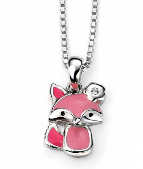 D for Diamond  Silver and Pink Enamel Fox Pendant