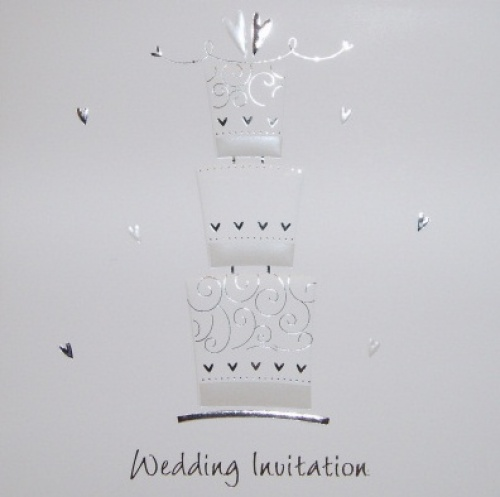 Wedding cake Luxury White Wedding Invitations - Pack of 5