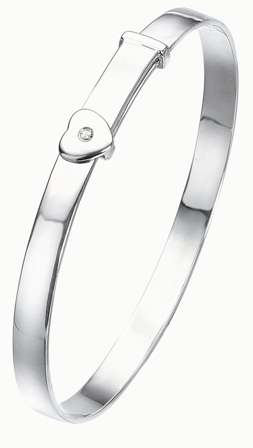 Silver Adjustable D For Diamond Heart Baby Bangle