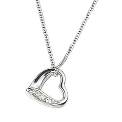 Silver and Cubic Zirconia Slip-on heart pendant necklace with 16'' chain