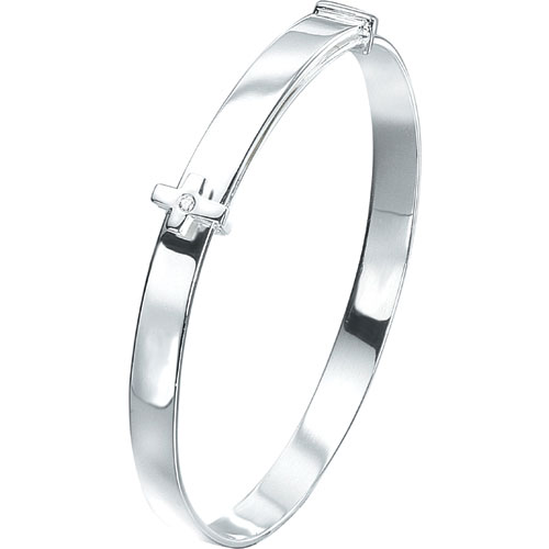 Silver D For Diamond Adjustable Cross Baby Bangle