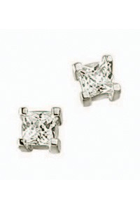 Sterling Silver and Cubic Zirconia Square Earrings