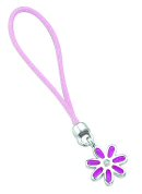 Sterling Silver D for Diamond Pink Flower Zip up Charm