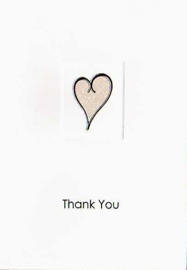 White Single Heart Luxury Wedding Thank You Cards